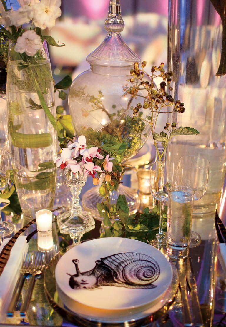 Jung Lee's terrarium reception table decor
