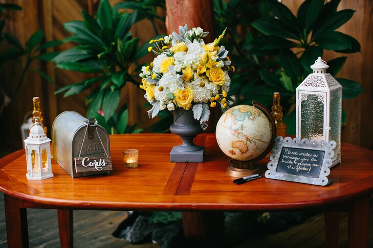 A globe played into the couple's vintage travel motif and doubled as a sweet keepsake for guests to write on.