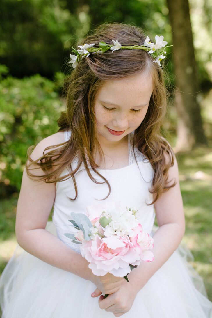 Simple white freesia flower girl flower crown izmirmasajfo