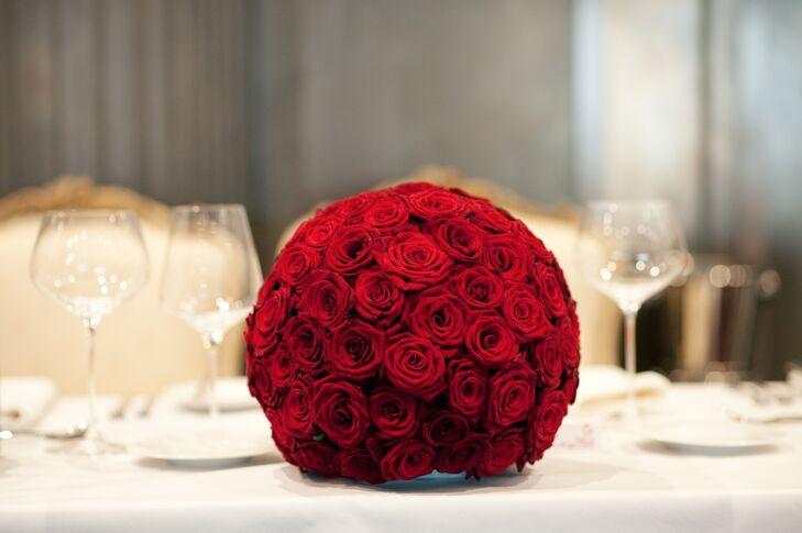 Red rose pomander centerpiece