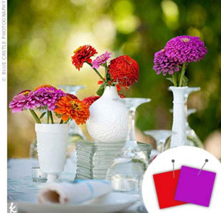 Purple and red floral centerpieces