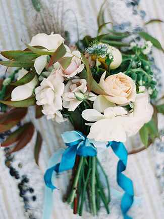 Rose and gardenia wildflower wedding  bouquet
