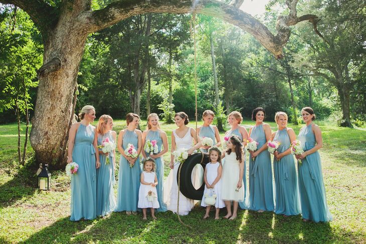 Molly S Bridesmaids Wore Formal Length Dessy Gowns In The Color Icelandic Blue