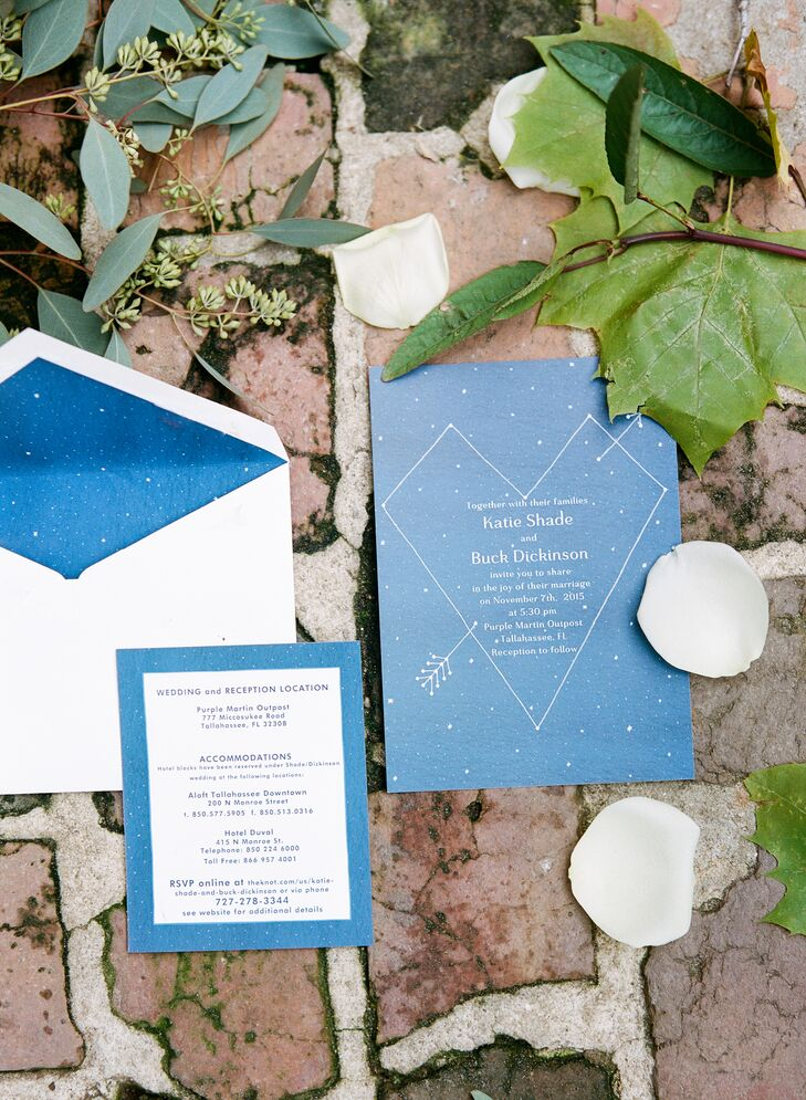 Purple Martin Outpost Greenhouse Ceremony Rustic Blue Constellation Invitations