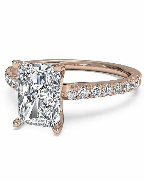 Ritani Radiant Cut French-Set Diamond Band Engagement Ring in 18kt Rose Gold (0.23 CTW) Engagement Ring photo