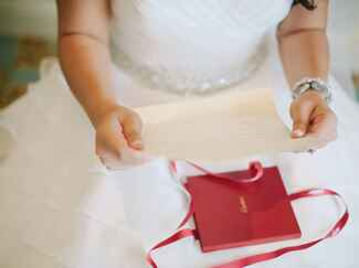 Bride with gift from groom
