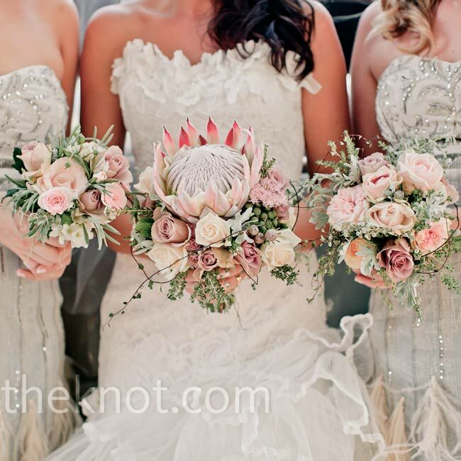 Pink And Green Wedding Bouquets