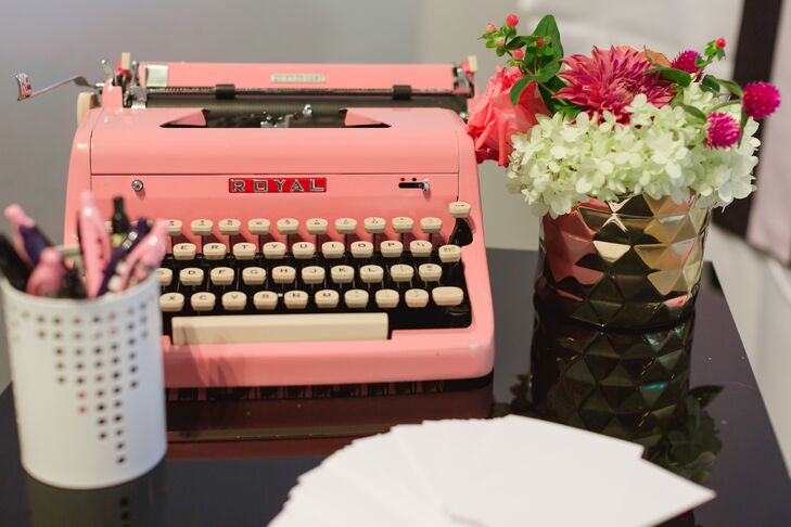 Pink Retro Typewriter with Guest Cards