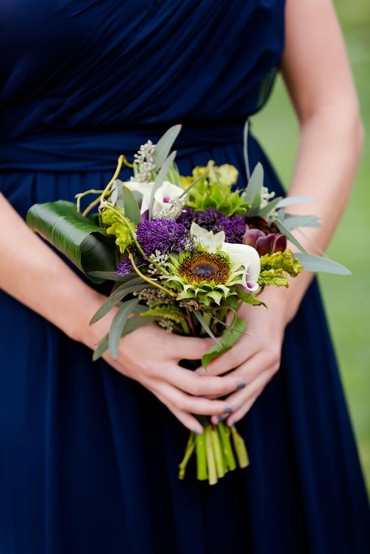Textured Green and Purple Bridesmaid Bouquet