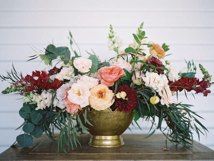 Lush Flower Arrangement In Gold Vase