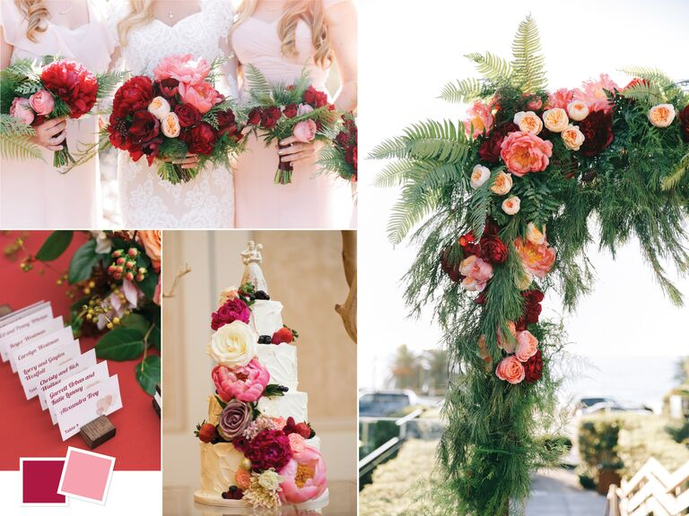 Summer peony and burgundy wedding color combo