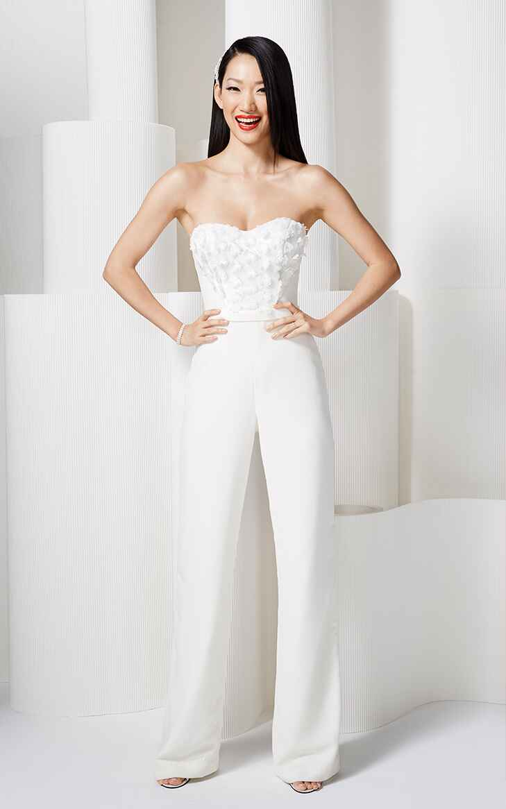 Model in David's Bridal Jumpsuit