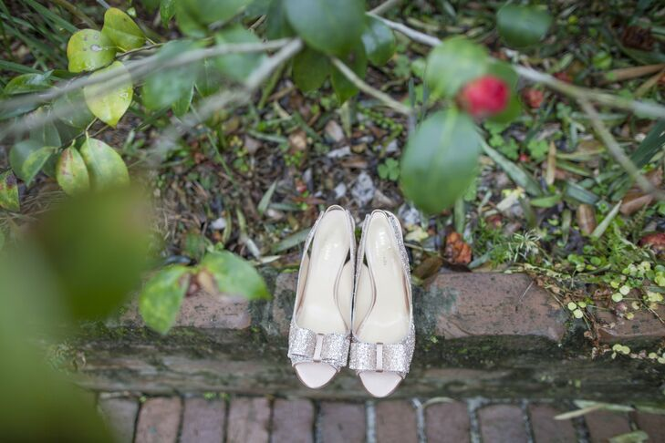 The bride wore rose gold Kate Spade Charm Heels.