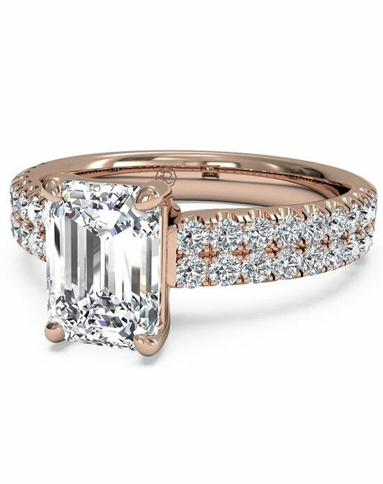 Ritani Emerald Cut Double French-Set Band Engagement Ring in 18kt Rose Gold (0.59 CTW) Engagement Ring photo