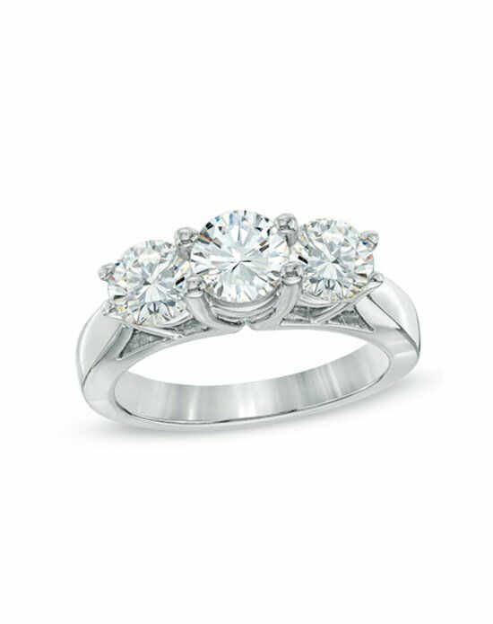 Zales 1-1/2 CT. T.W. Certified Diamond Three Stone Ring in 14K White Gold (H-I/I1-I2) Engagement Ring photo