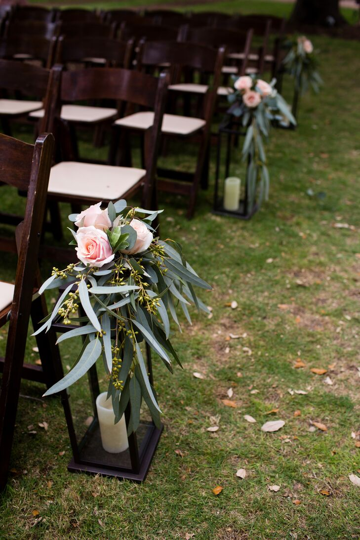 Greenery and Blush Rose Aisle Decorations