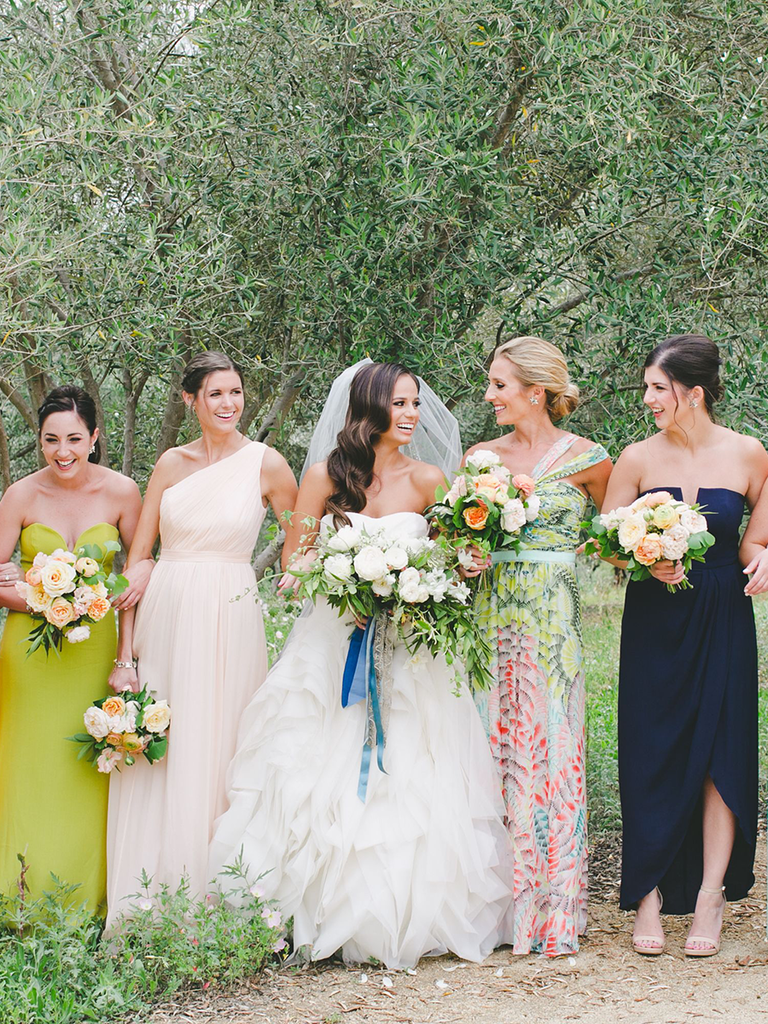 These mismatched bridesmaid dresses are the hottest trend mismatched colors and a coordinating print bridesmaid dresses ombrellifo Choice Image
