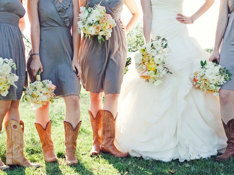Country Bridesmaids Wearing Gray Dresses And Cowboy Boots
