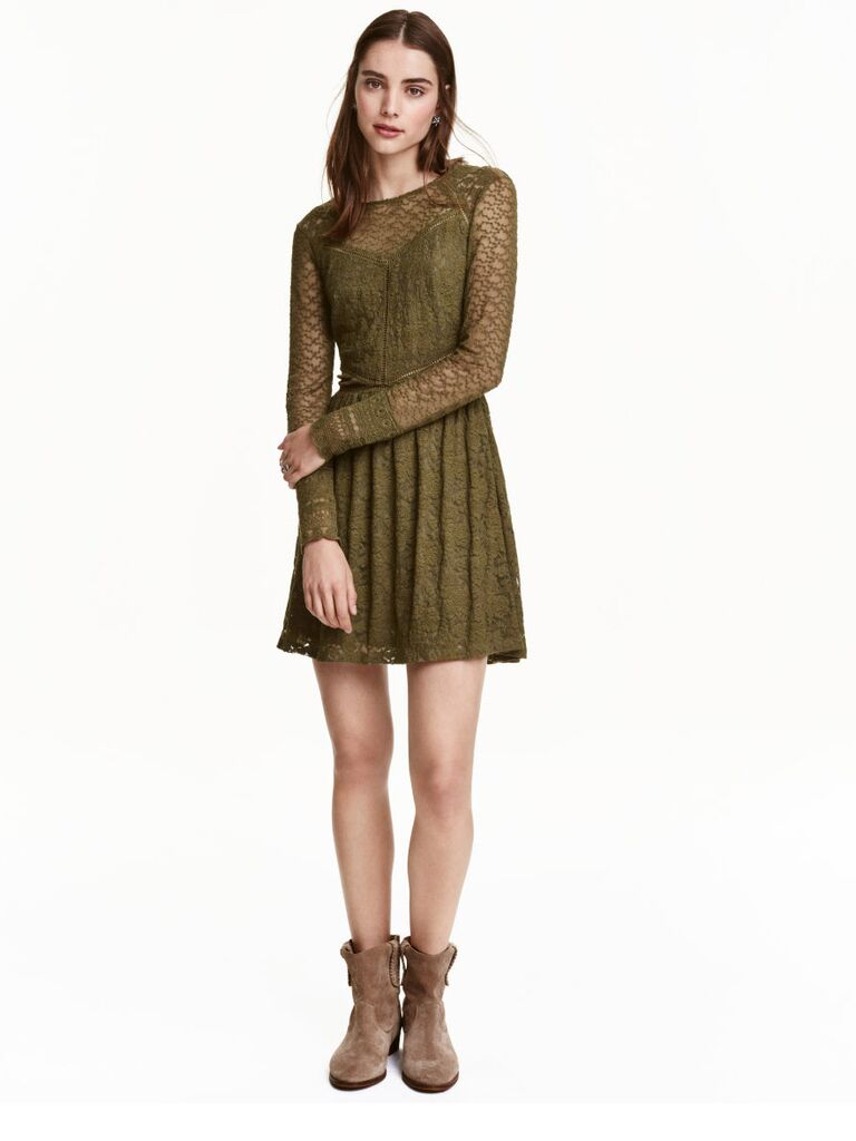HM Fall Wedding Guest Dress With Green Lace