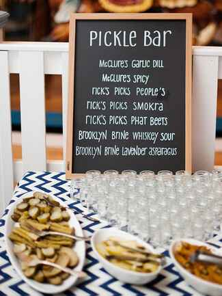 Wedding reception pickle bar food station idea