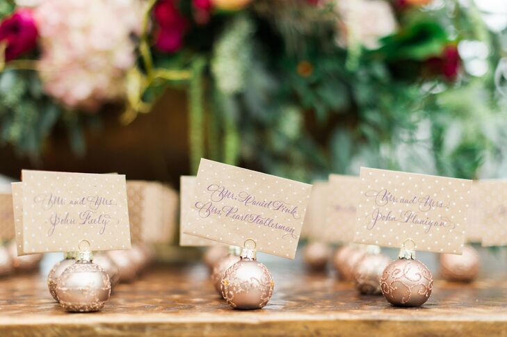 Holiday Ornament Escort Cards