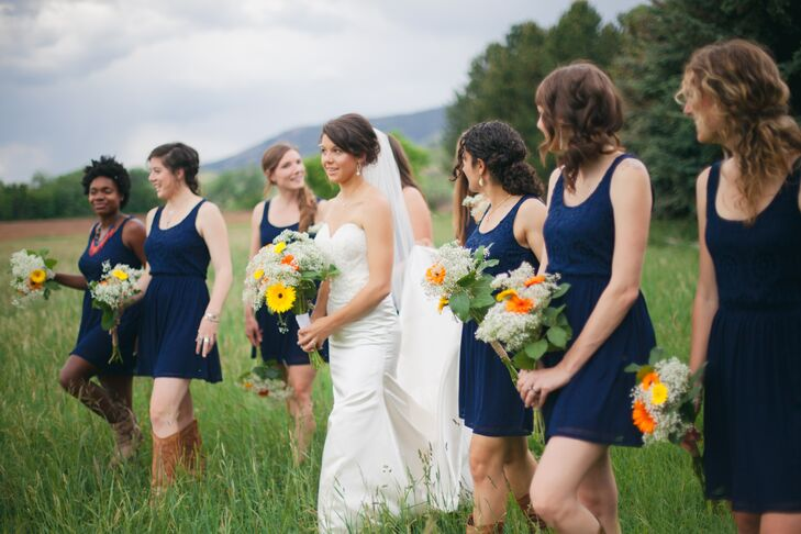Navy Lace Bridesmaid Dresses and Cowboy Boots