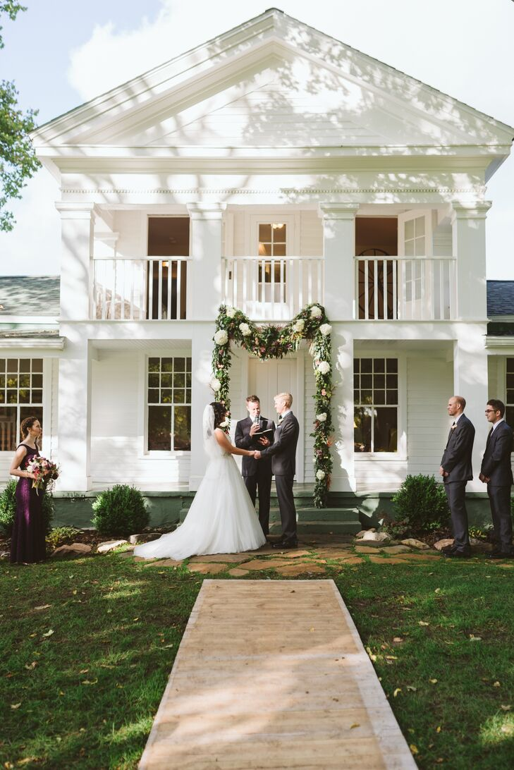 Historic Farm Backyard Ceremony with Lush Green Garland
