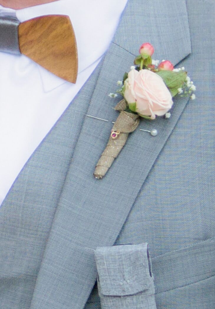 Pink Rose and Hypericum Berry Boutonniere