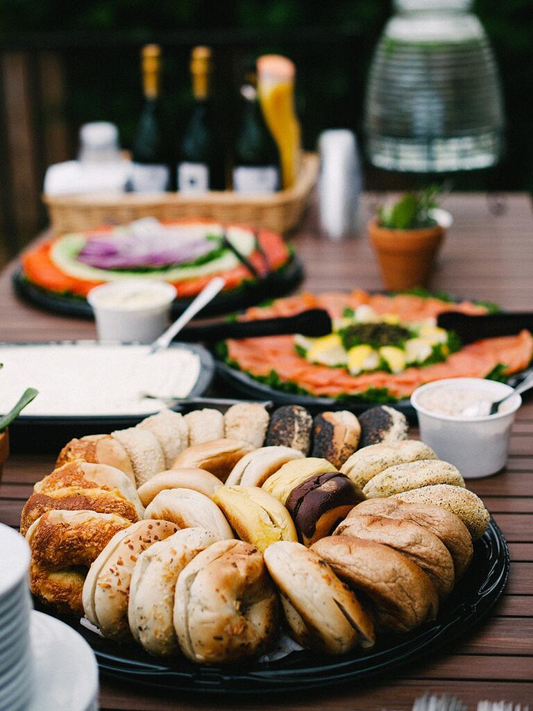 Brunch Style Bagel Bar Idea For A Wedding Reception Entree