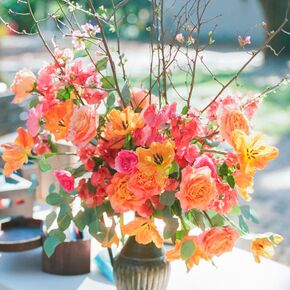 Orange And Coral Rose Cherry Blossom Arrangements