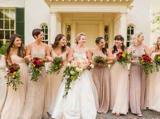 Virginia mismatched gold bridesmaid dresses