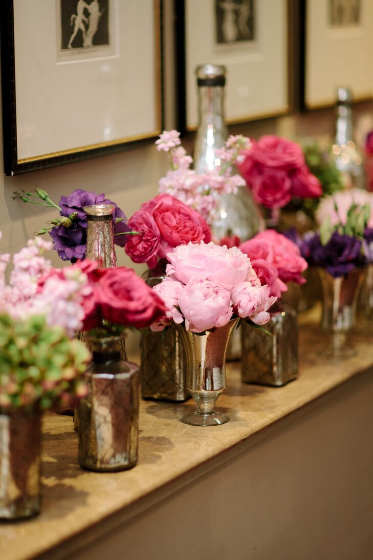 Colorful Peony and Rose Bud Vases