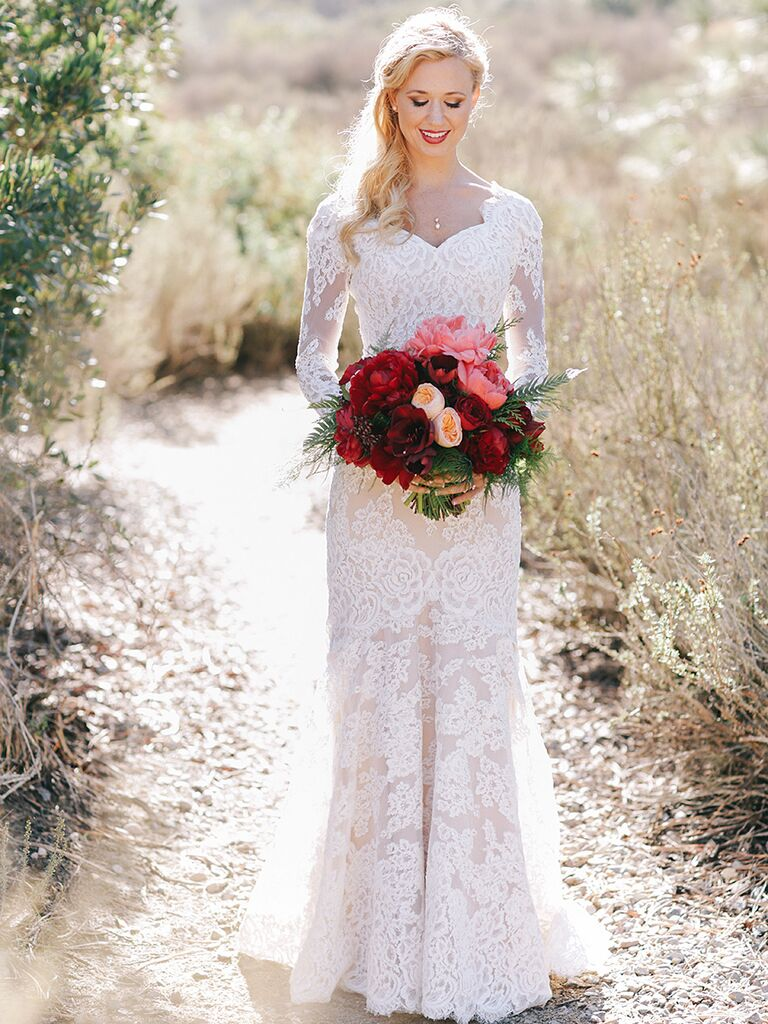 Long Sleeve Lace Wedding Gown By Anne Barge