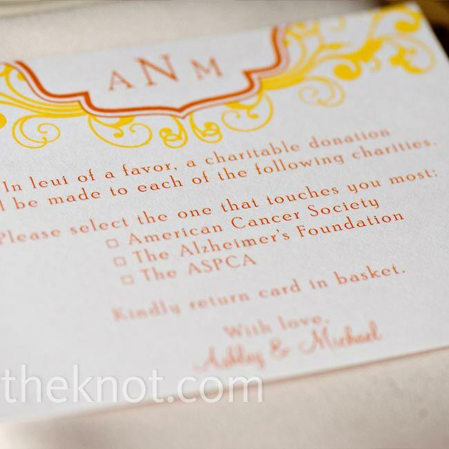 Charitable Wedding Favors