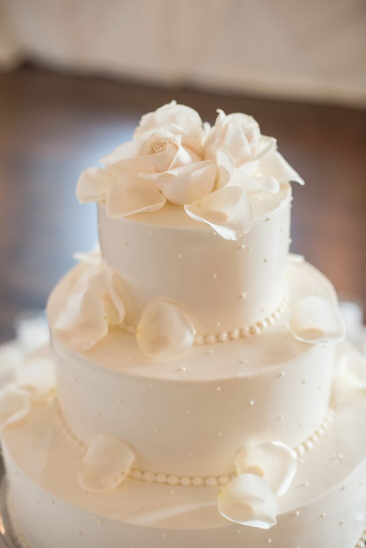 Simple White Wedding Cake With Swiss Dots And Rose Petals