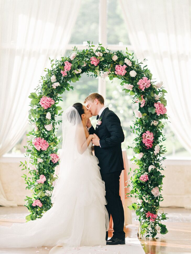 Wedding Arch With Greenery And Pink Hydrangeas