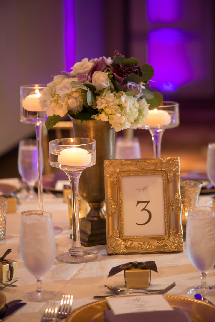 Gold-Framed Table Number With Floating Candles