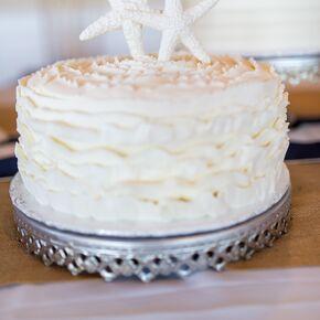 White And Turquoise Wedding Cake