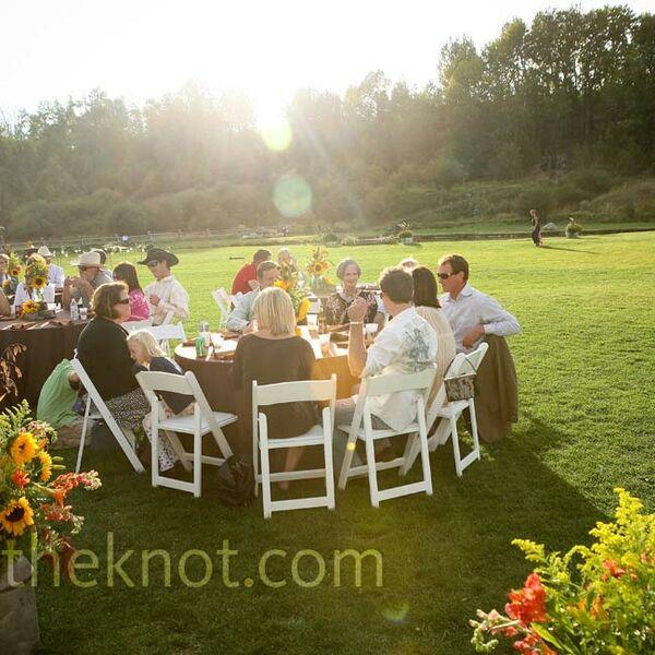 Casual Outdoor Wedding Reception Ideas: Rustic Sunflower Centerpiece