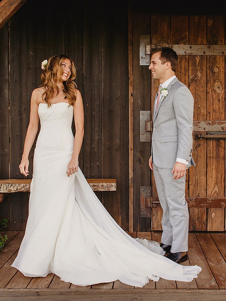 Simple Ruching Vera Wang Wedding Gown