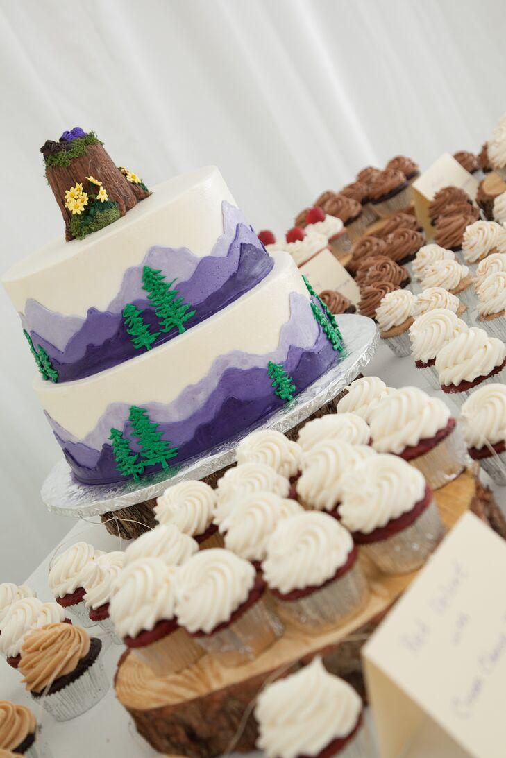 Purple Fondant Mountain-Themed Wedding Cake