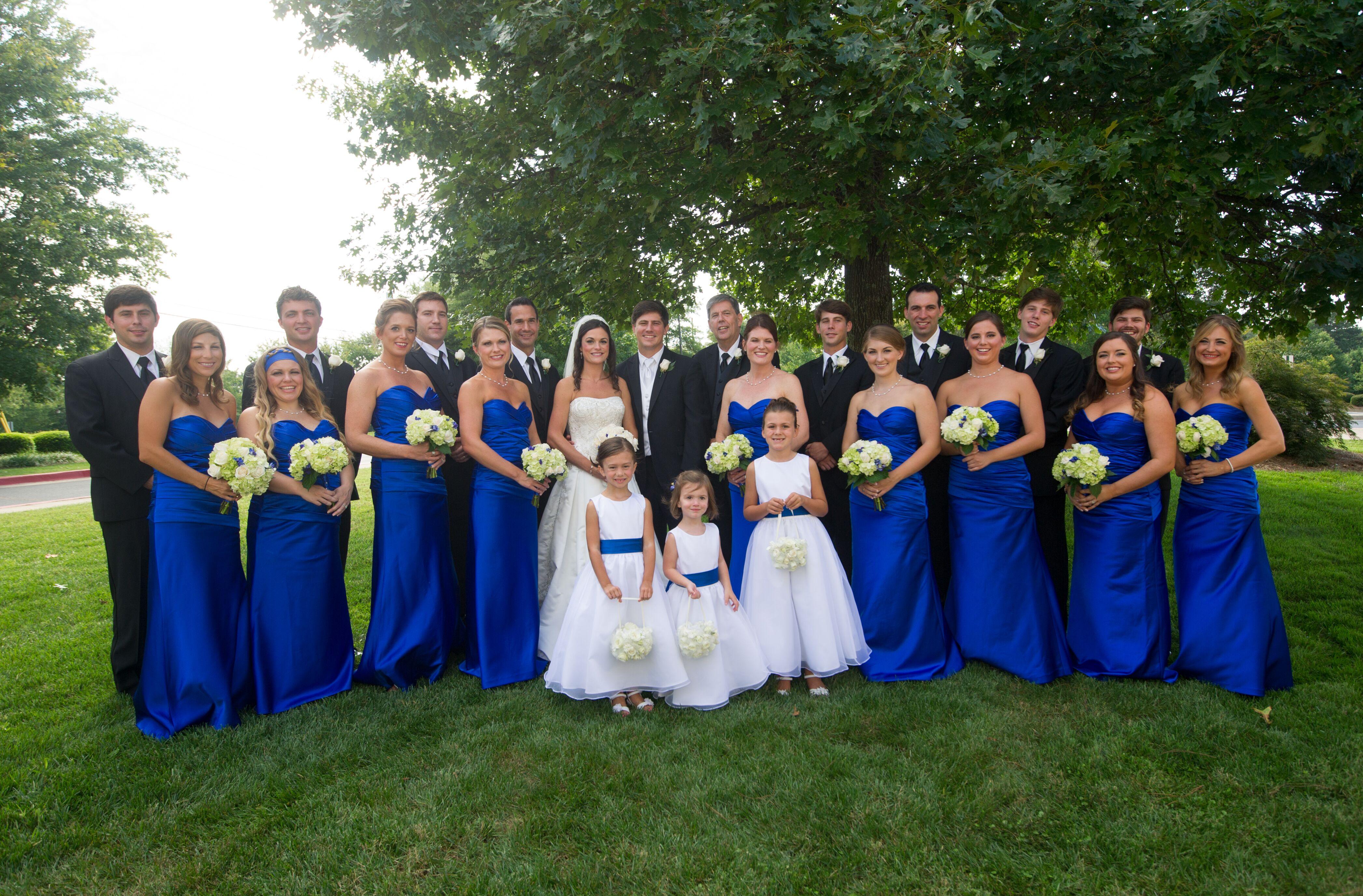 Long Satin Cobalt Blue Bridesmaid Dresses