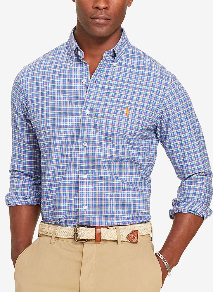 Blue Checked Shirt Mens Beach Wedding Attire