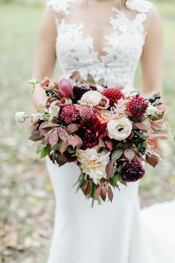 Purple wedding flower arrangements fall bouquet with dahlias berries and leaves mightylinksfo