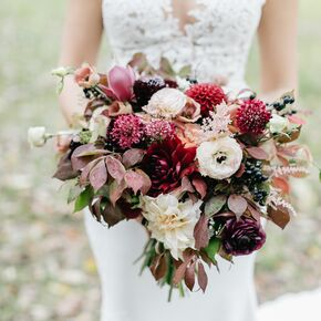 Purple wedding flower arrangements fall bouquet with dahlias berries and leaves junglespirit Choice Image