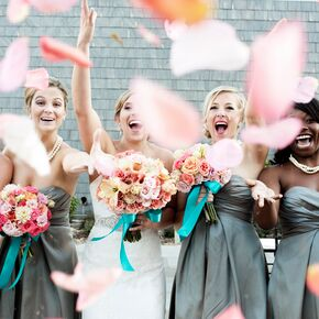 Peach and Ivory Bouquet with Turquoise Ribbon