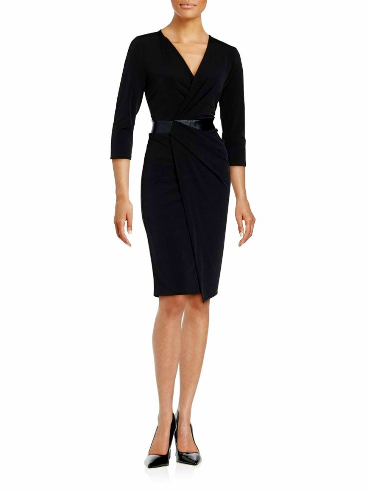 T Tahari Leather Waist Wrap Dress