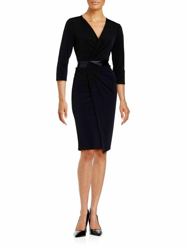 T Tahari Leather Waist Wrap Dress