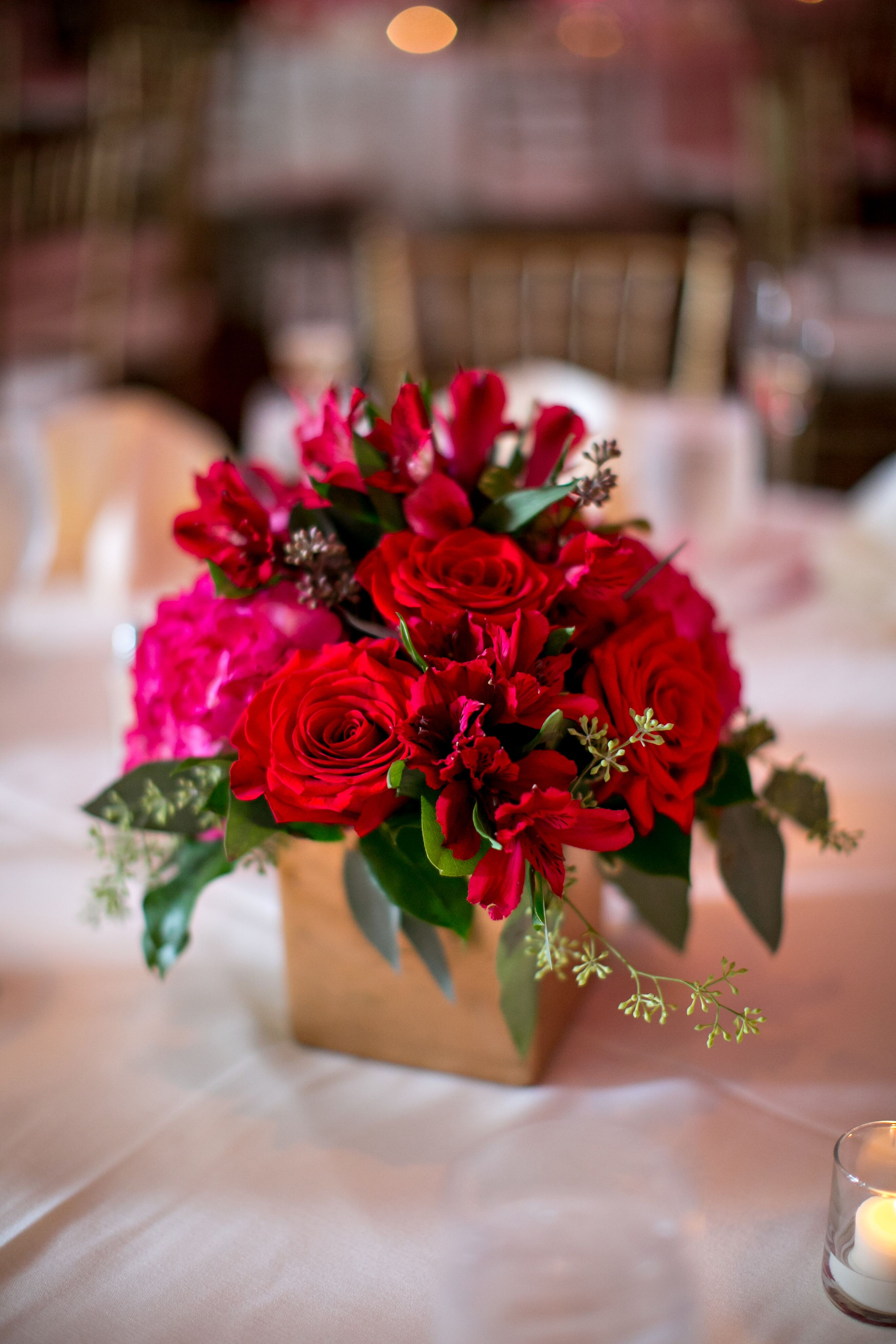 Small Pink And Red Floral Centerpieces