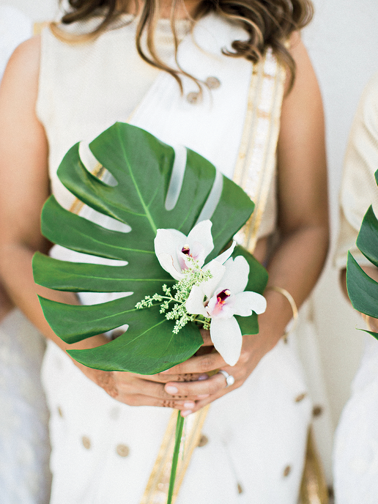 Palm frond wedding bouquet